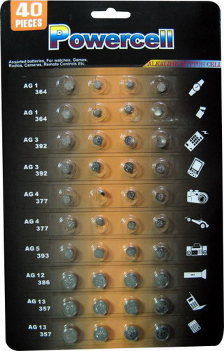 POWERCELL AG Button Cell 40 Assorted Pack